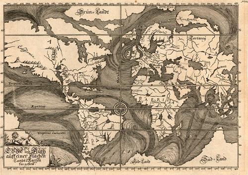 Early Ocean Currents, Eberhard Werner Happel, Die Ebbe und Fluth auff einer Flachen Landt-Karten fürgestelt. Ulm, 1685    Copyright © The British Library