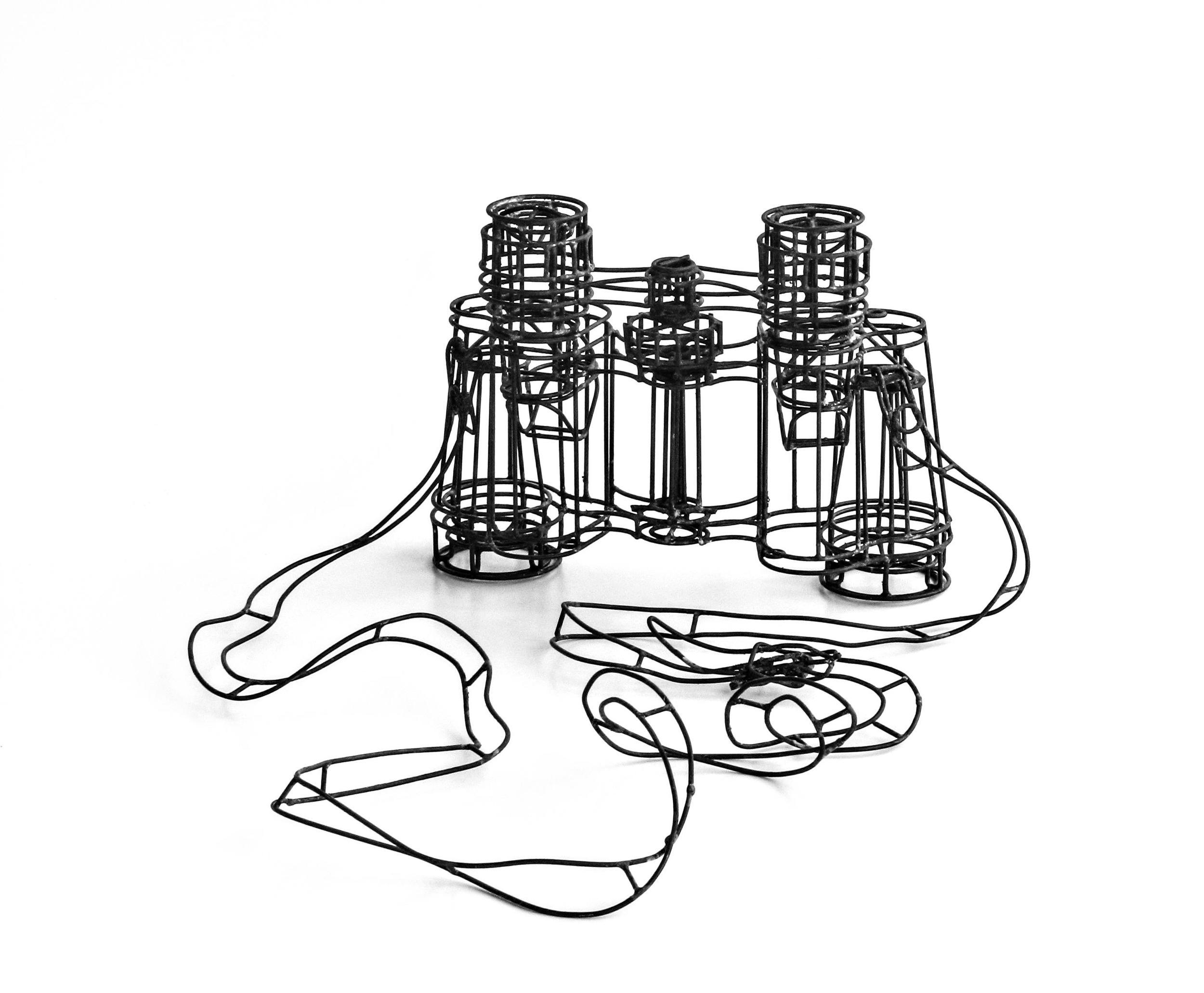 Binoculars, 2011, Thomas Raschke, Soldered Iron Wire 12x29x24cm