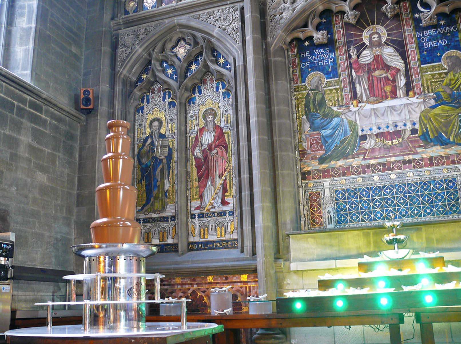 Chocolate Fountain in former church, Derby. The Caravan Gallery