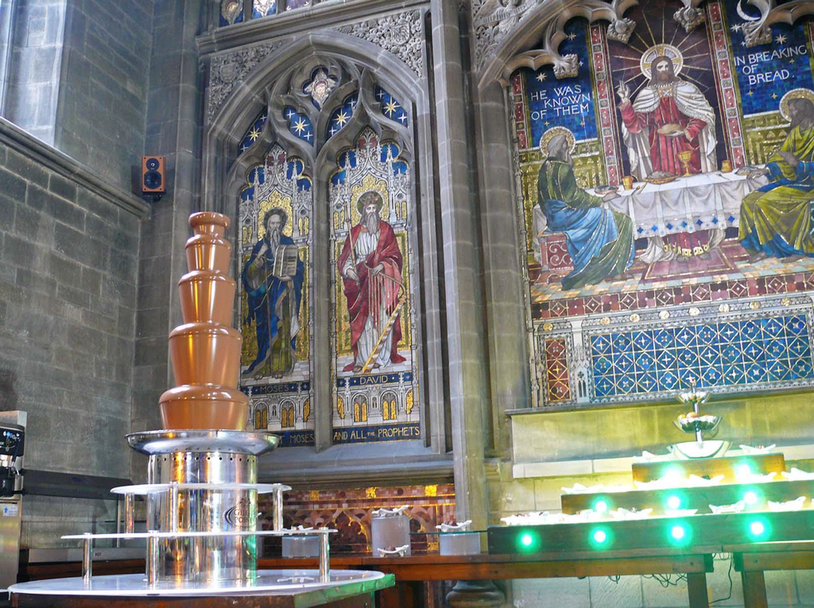 Chocolate Fountain in former church, Derby. The Caravan Gallery