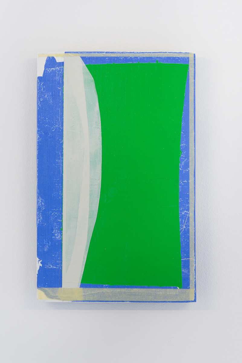3. Christopher Green. 2013 Emulsified acrylic, tape, acrylic and gesso on birch panel 24 x 15 x 1.8 cm