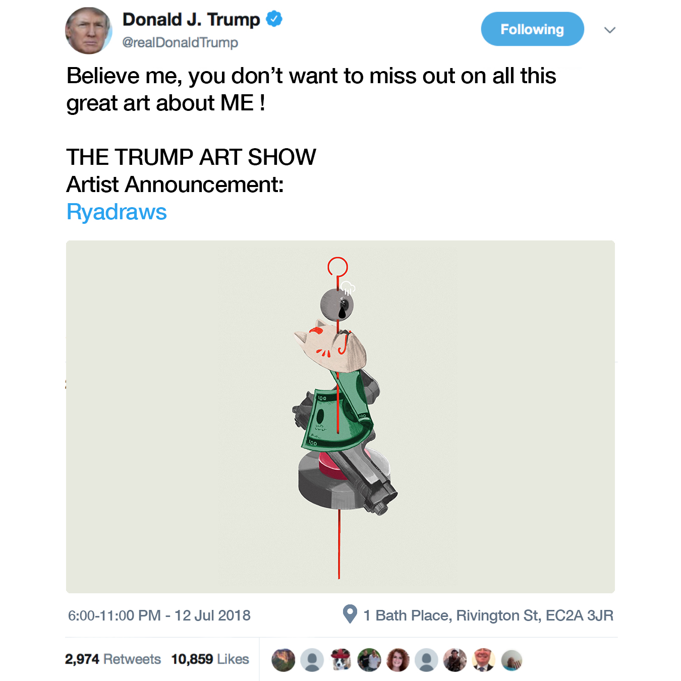 The Anti Trump Art Show promotion with Ryadraws' artwork