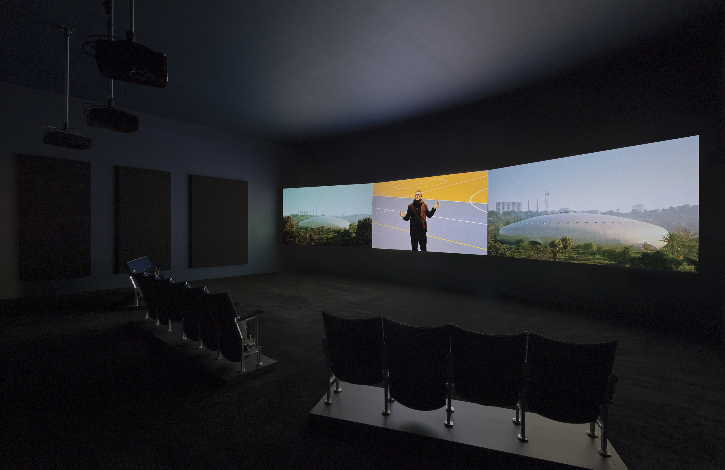 Naeem Mohaiemen, Two Meetings and a Funeral 2017, three-channel video, Turner Prize 2018 exhibition installation view, Tate Britain (26 September 2018 - 9 January 20191.