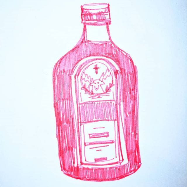 #Inktober Day 12: A very important bottle of Jaeger.