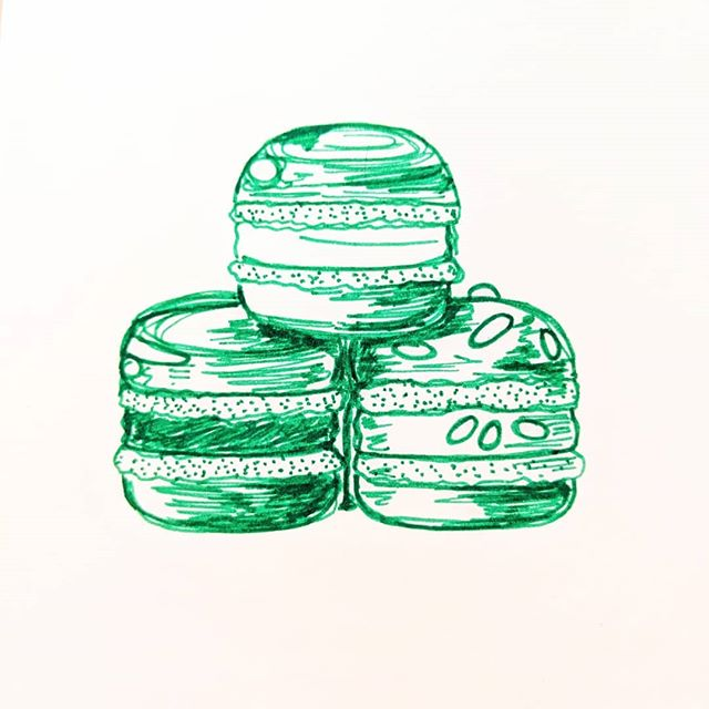 #Inktober Day 19: Some very important macarons someone brought me from Whole Foods. Red Velvet, Cookies & Cream, Birthday Cake all in green.