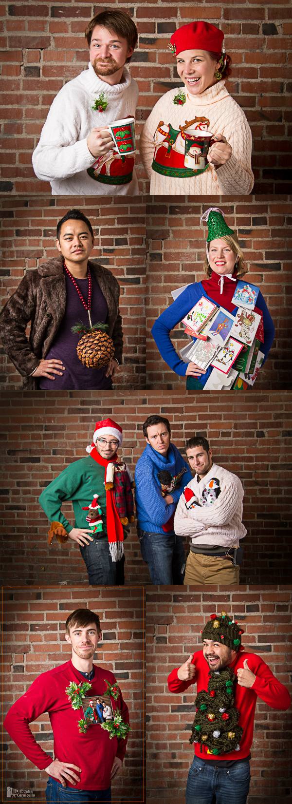 "A sampling of the ""Ugly Holiday Sweaters"" from today's creativeLIVE classroom. Yes, that is an iPad on Adam's chest."