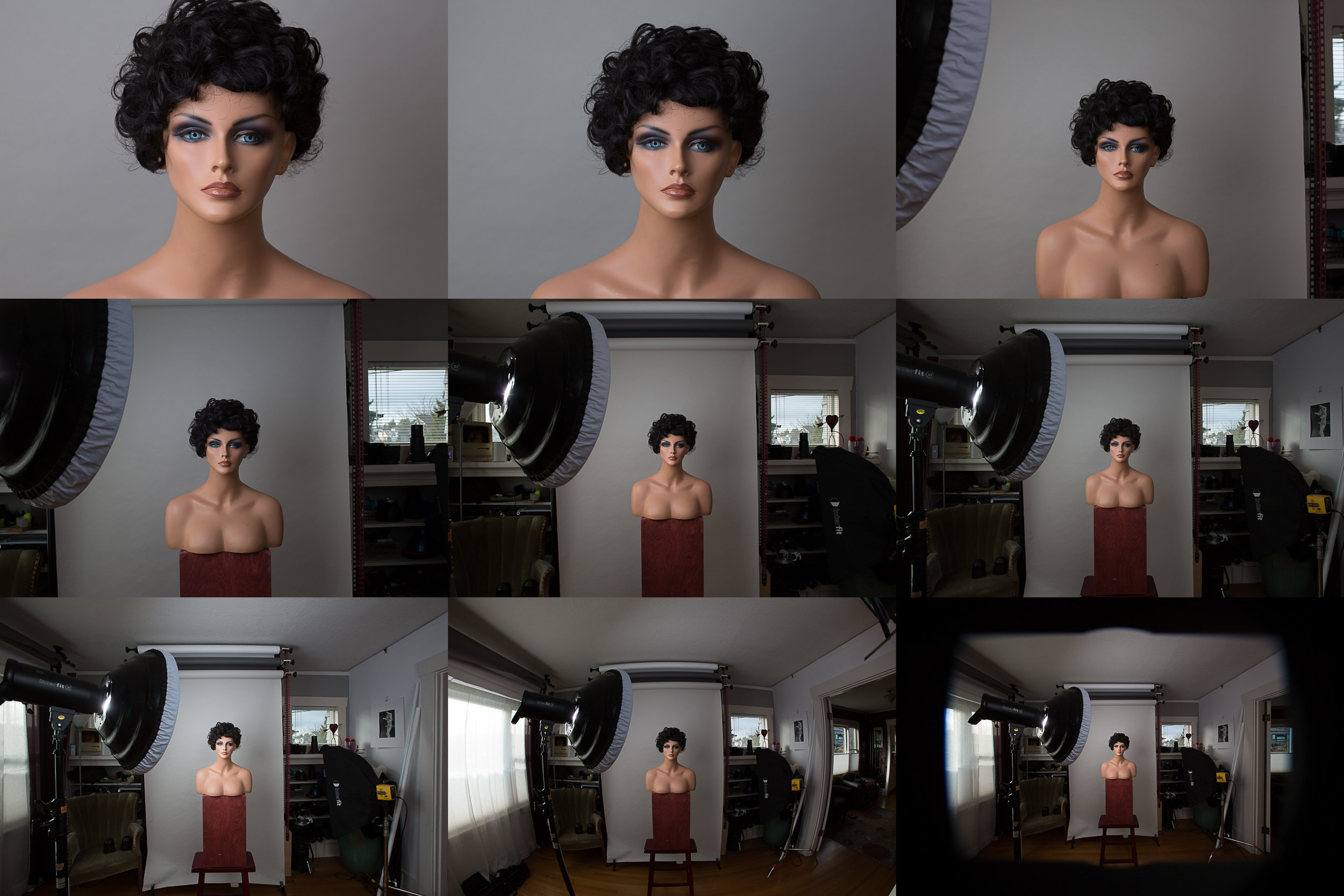100mm, 85mm, 50mm, 35mm, 24mm, 20mm, 15mm, and 10mm from the same camera position 58 inches from the subject