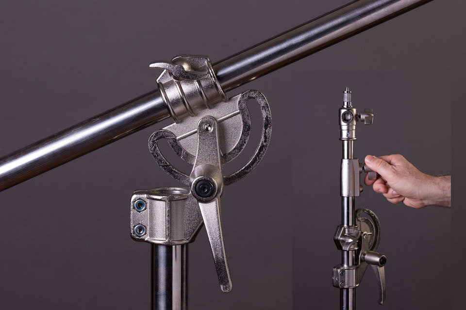 This tall light stand easily converts to a stand and boom arm