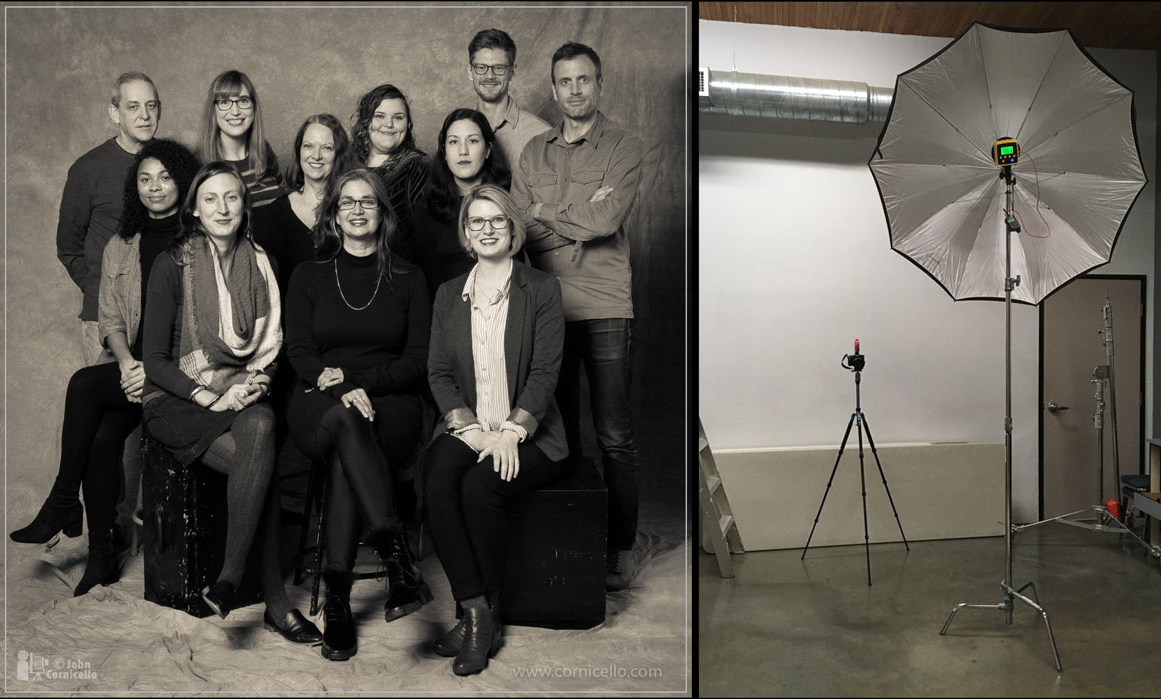 Staff photo for PCNW in Seattle lit with one Interfit Badger Unleashed strobe in a 60-inch umbrella to camera left as seen in the BTS photo.