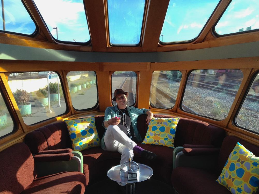 Bob Boilen aboard Doug Aitken's Station to Station art train.