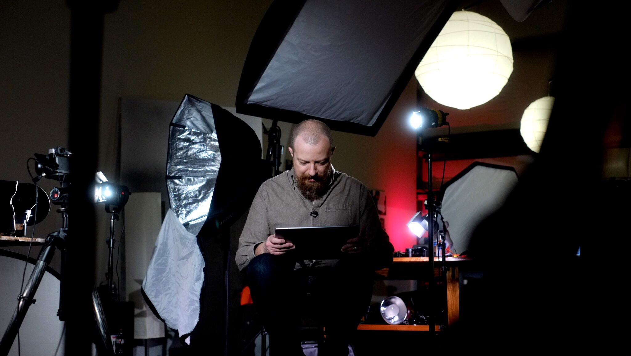 That's me, reviewing notes for an upcoming shot or maybe playing with a photo we just made.