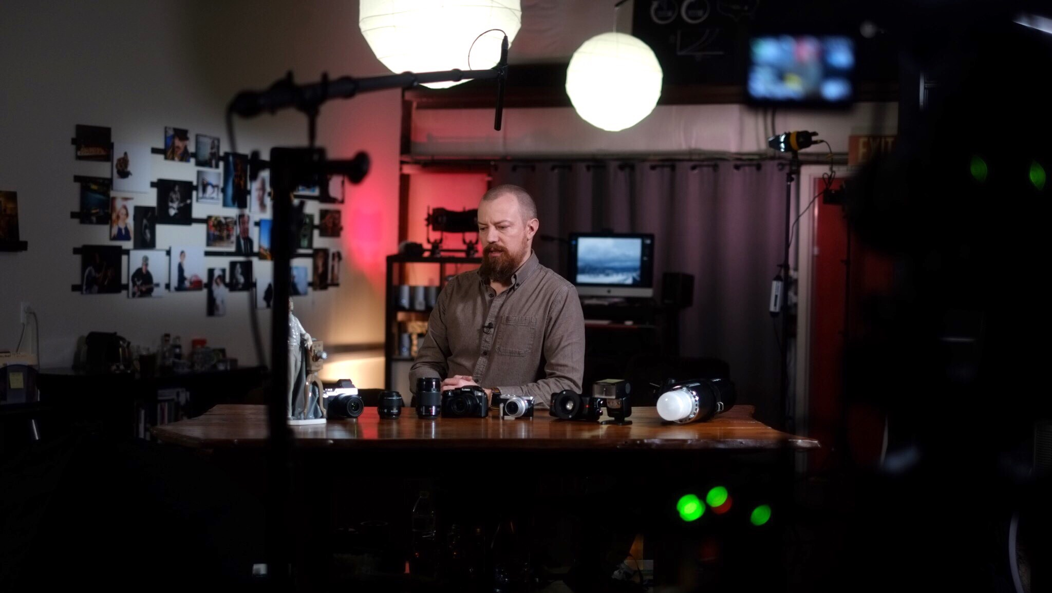 This is a cool setup, which we used for course and some individual video introductions. Basically if I had a lot to say without much to do, (show vs tell), it happened here. I love how my studio looks in the background!