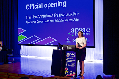 The Premier of QLD guest hosting at a government conference in Brisbane.