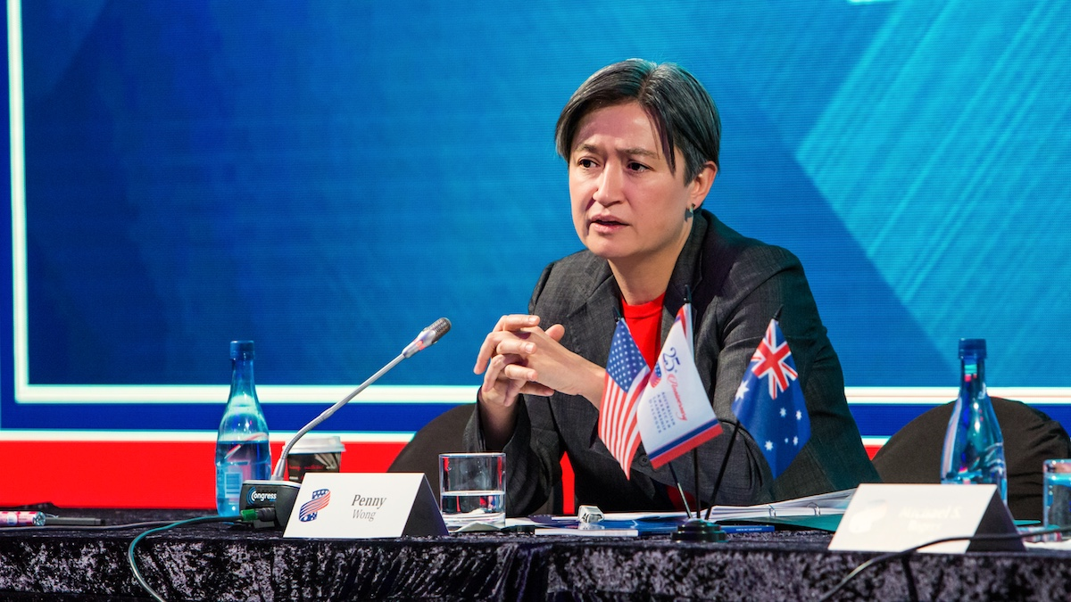 Senator Penny Wong speaking at an international summit