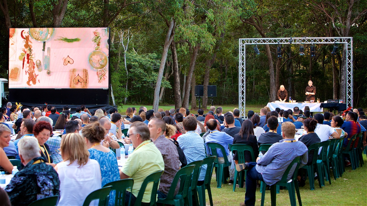 Outdoor corporate dinner event at the Sunshine Coast Convention Centre