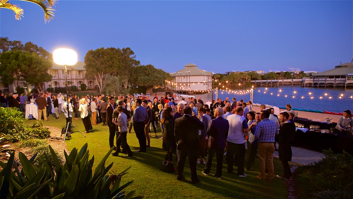 Corporate cocktail event by the lagoon at Novotel Twin Waters