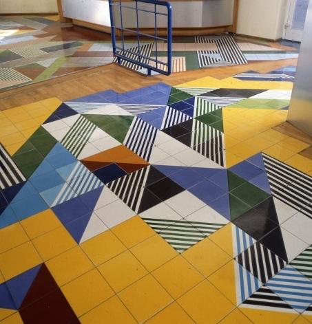 Gio Ponti Flooring Design and Tile Pattern for Publishing House Salzburger Nachrichten 1967