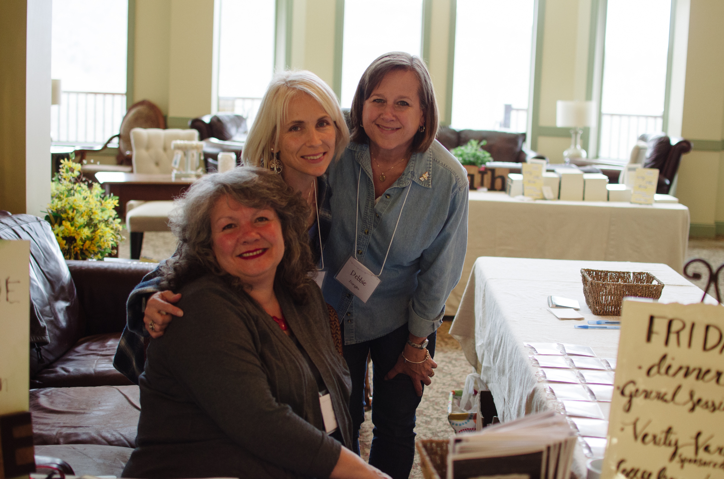 "Winsome leader ""welcome crew"": Julie Dodson, Stephanie Avellino, and Debbie Morgans"