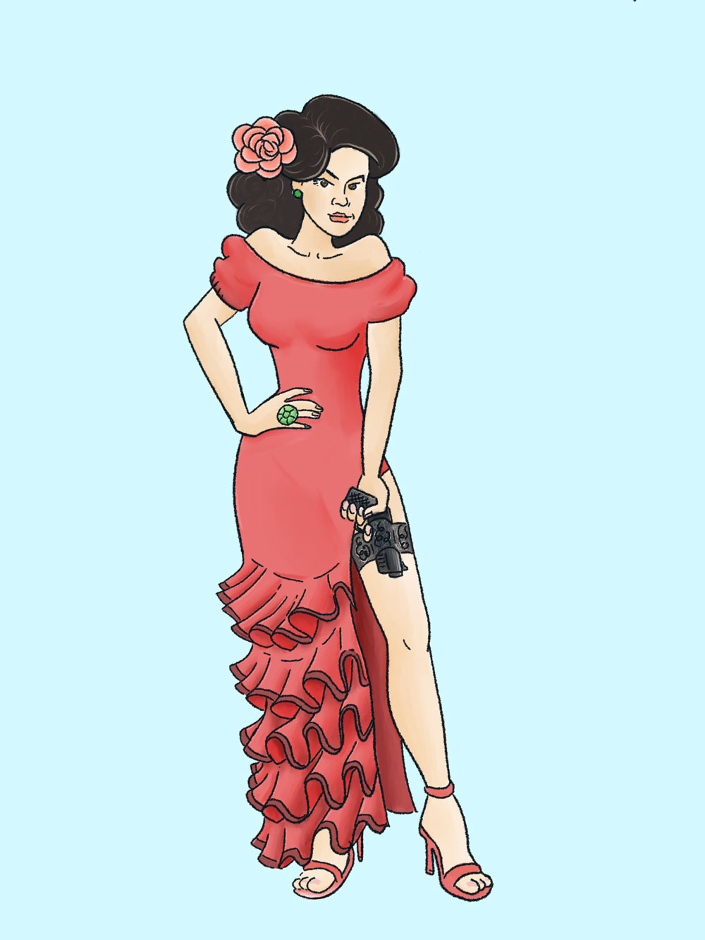 Tight Budget - A curvy Hispanic femme fatale—a perfect love interest for our hero, Addy Bond. With a high slit in her slinky red dress, she reveals a gun tucked in her garter. Can you trust her?