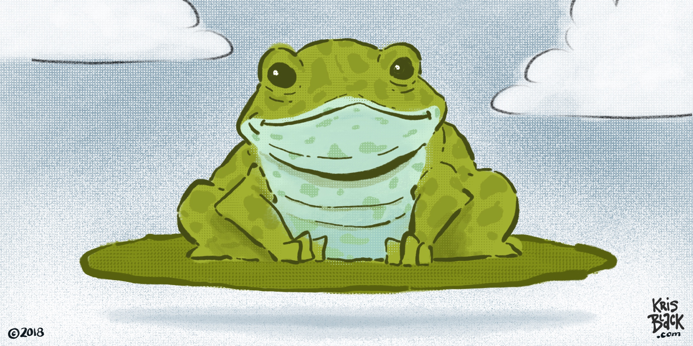 Illustration of a Frog on a Lilly Pad by Kris Black (inspired by David Wiesner)