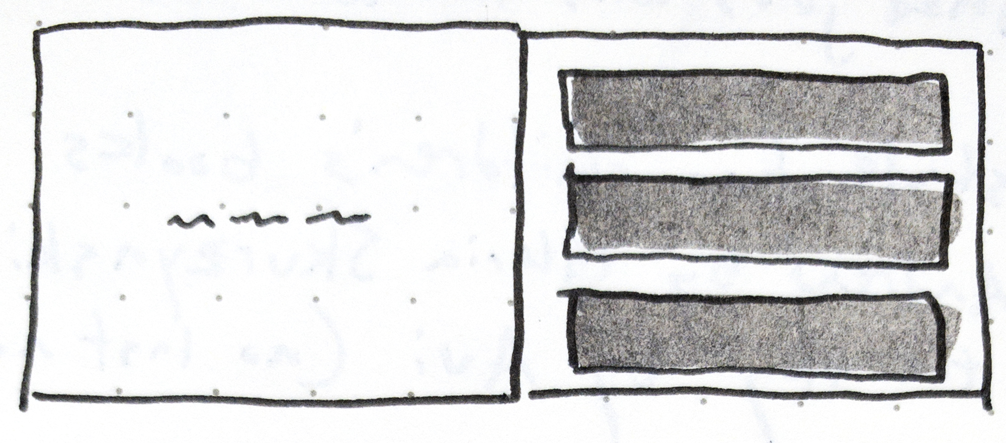 Fig. 1 - Sketch from my notes of a stacked three-panel layout on the right page with words on the left page in David Wiesner's children's book,  Tuesday .
