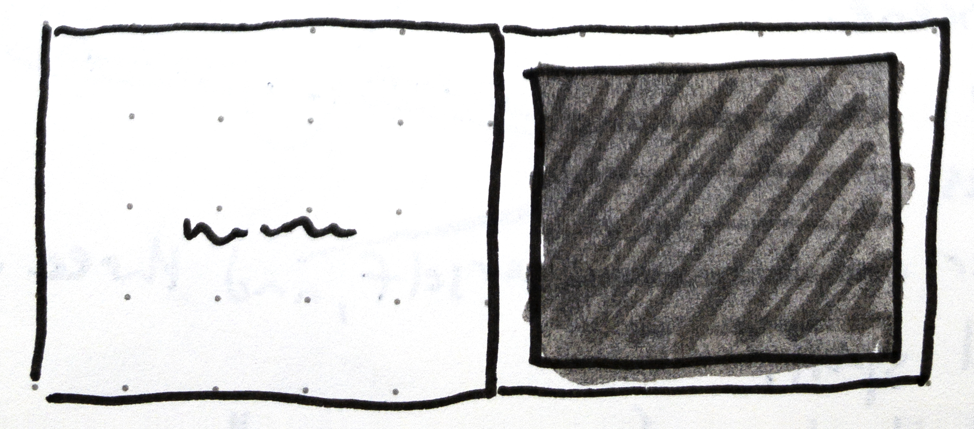 Fig. 4 - Sketch from my notes of a single page panel layout on the right page with words on the left page in David Wiesner's children's book,  Tuesday .