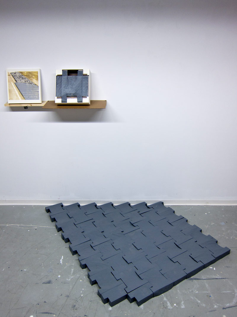 NOVÁ VES V HORÁCH (CZ) Defunct Border Road Median , boxed set of 356 foldable paper paving stones, lithograph, cardboard, paper, latex paint - 2014