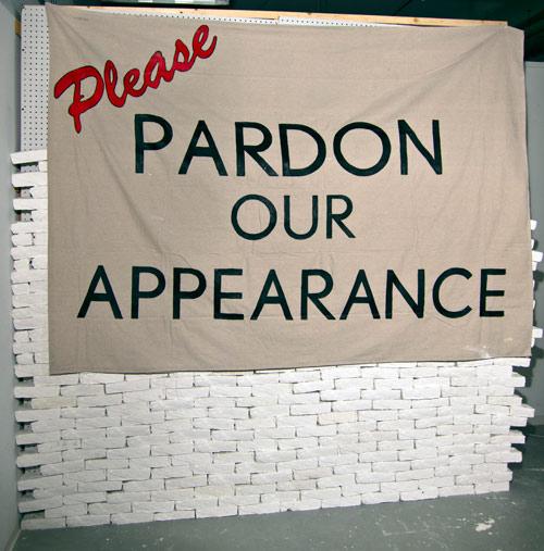 Please Pardon Our Appearance , cast plaster, linen, enamel - 2014