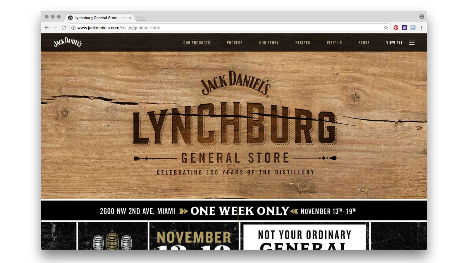 A website for the General Store lived within the context of Jack Daniel's parent site, featuring pop-up dates, locations and times.