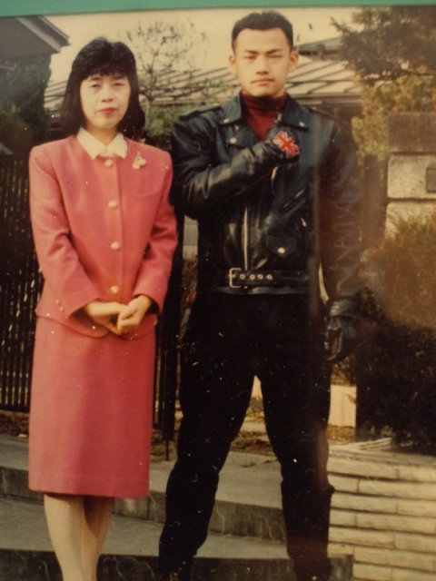 A young Kamiya, pictured with his mother.  What a badass.
