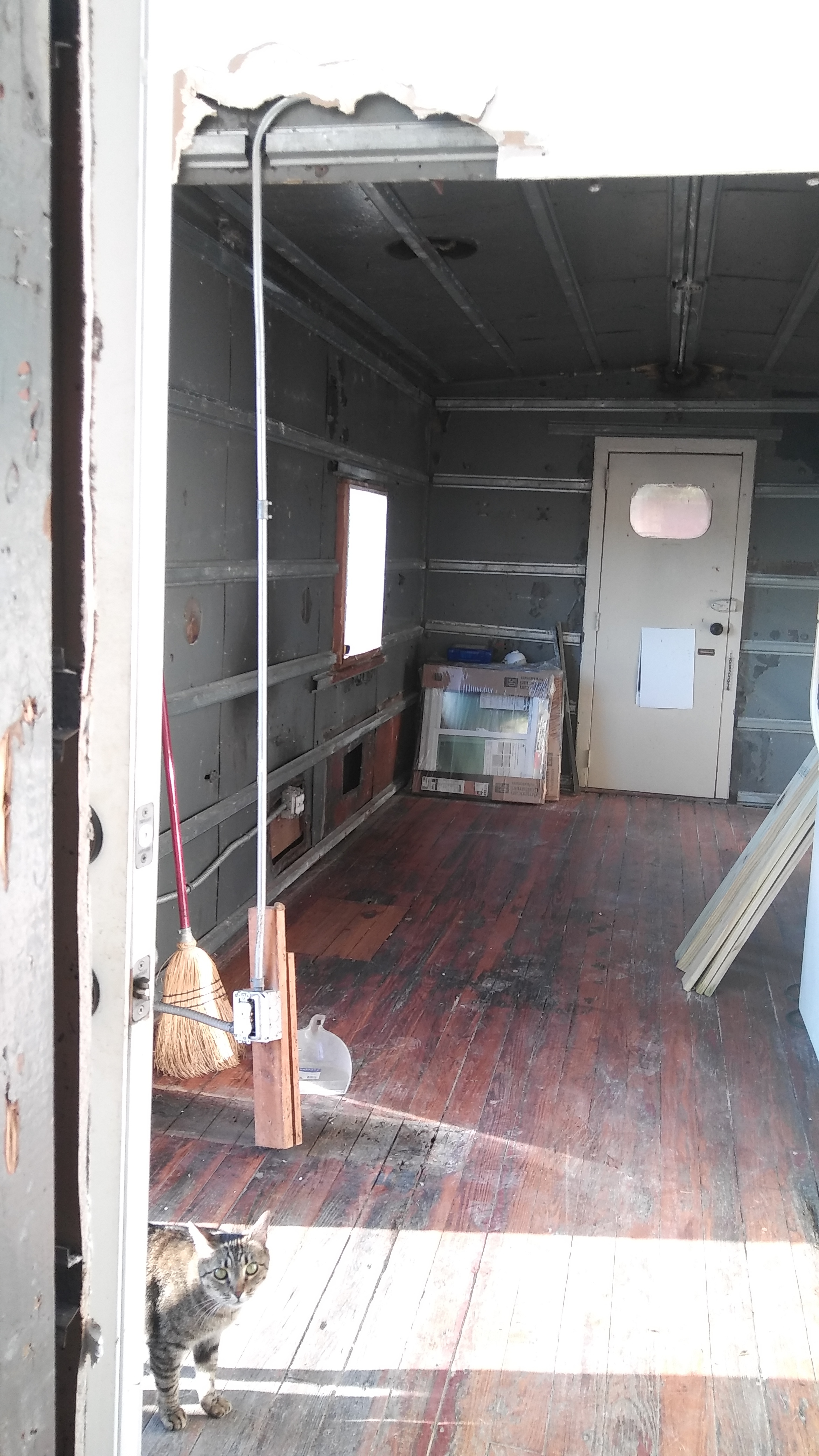 South side of caboose with central wall removed.