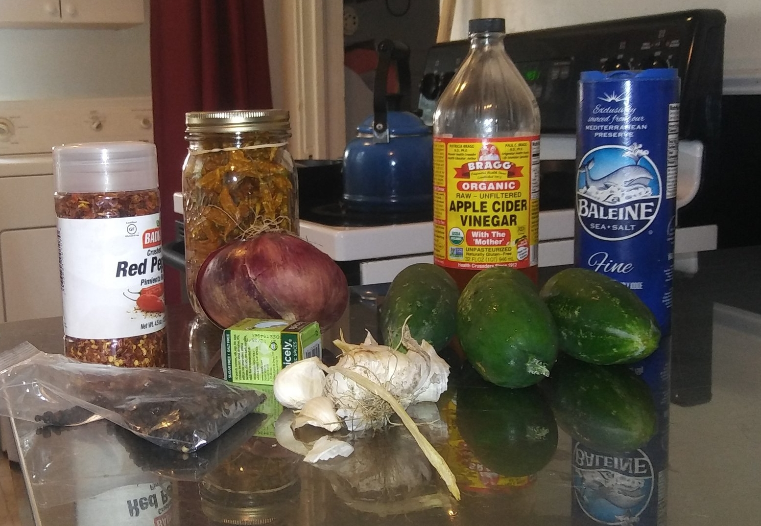 Our magical pickle potion ingredients.