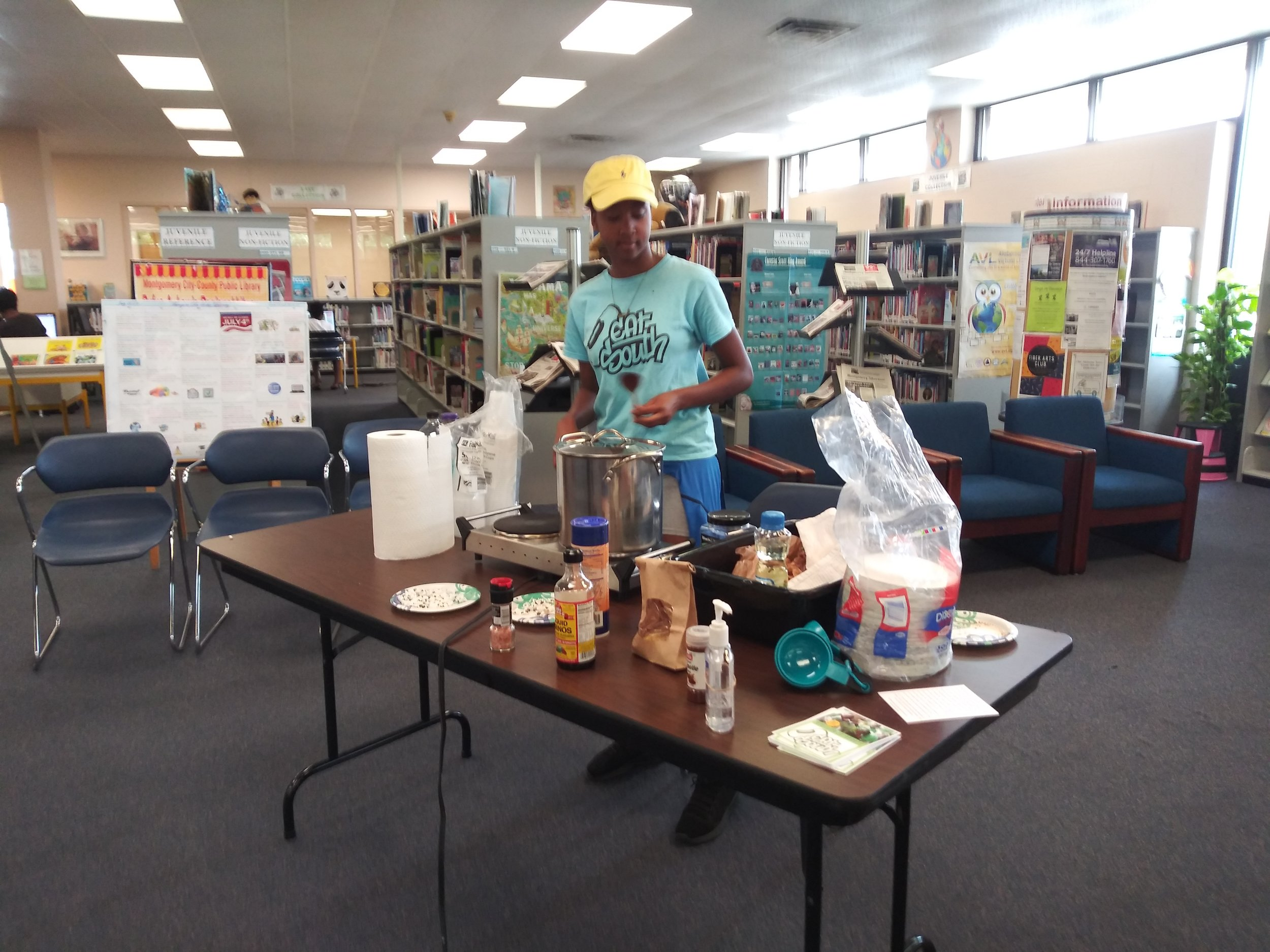 Making popcorn at the library!