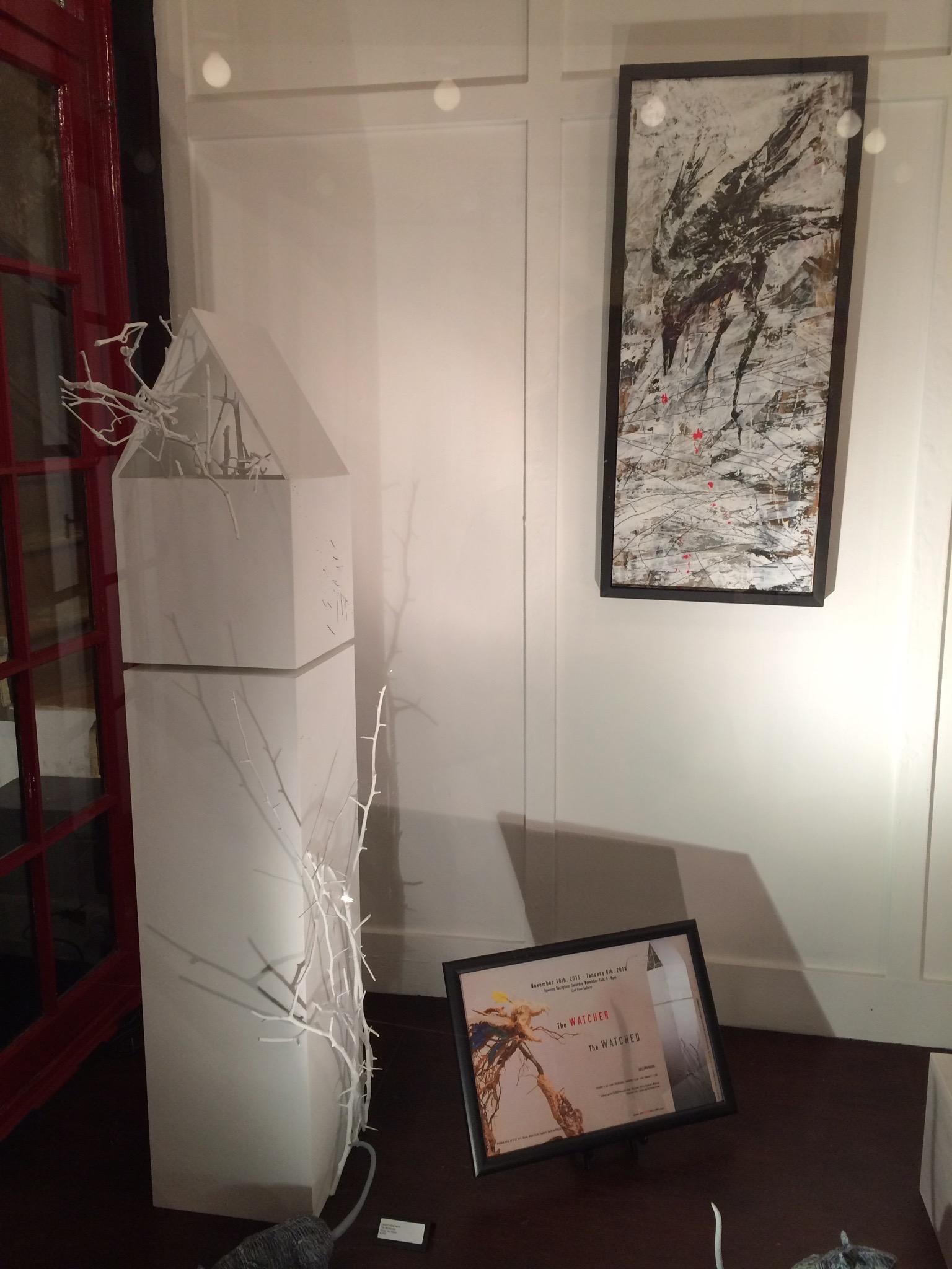 The Woodsman. Wood, sticks, gesso, acrylic ink. Irina Koukhanova's Rats snooping alongside, and Irina's work on the wall.
