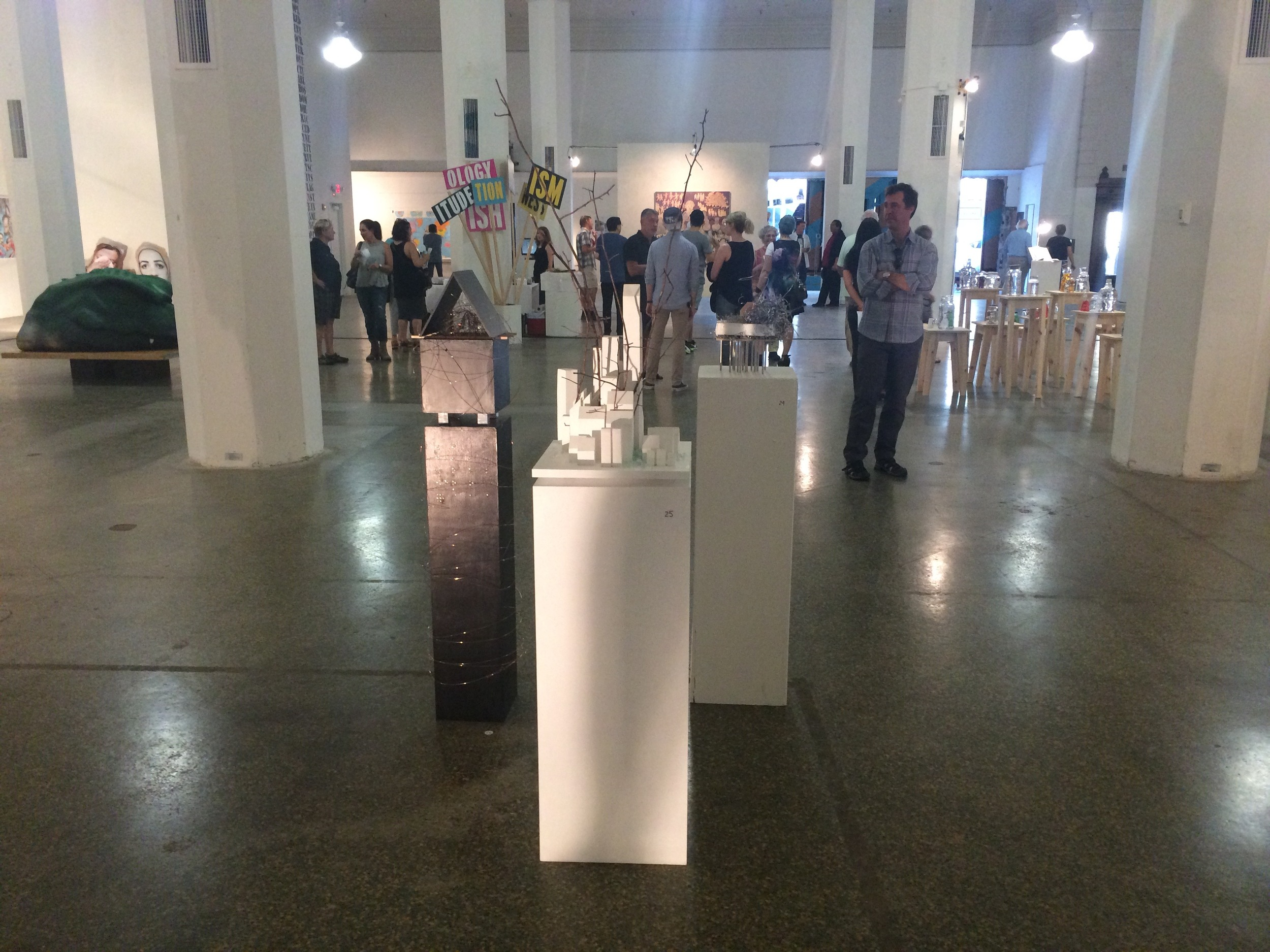 Above, my three sculptures in Re:Formation in Toledo. Left to right: Reactor, The City, Excerpt #6. Below are some more images from the opening reception.