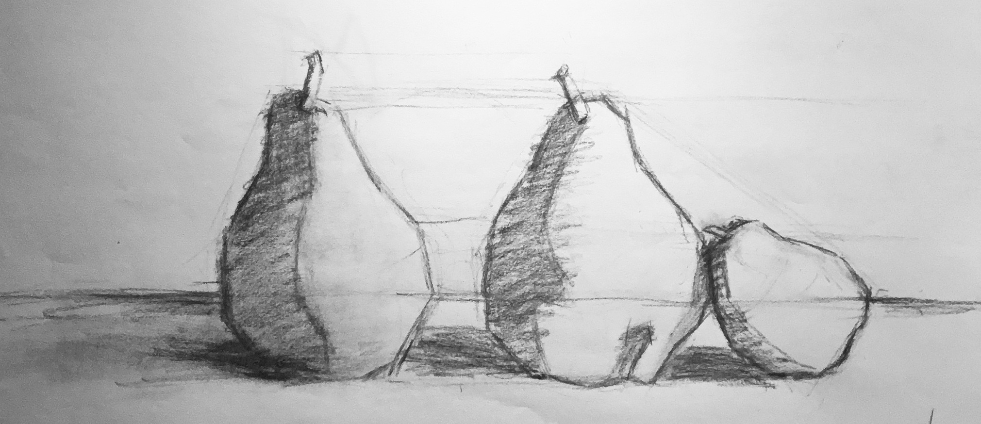 I teach private, classical representational (realist) drawing, starting with a block-in, using charcoal on paper. I have also produced On-Demand video lessons which allow you to learn at your convenience.  Image above is one of my demonstration drawings from my Introduction to Drawing class, Lesson One: Envelope and Block-in, which focuses on drawing the outside edges of a simple still life and then finding form and cast shadows.