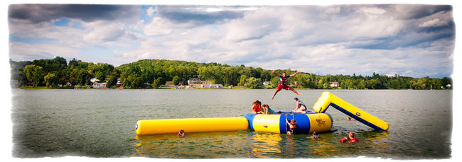 The Aqua Jump: just one of the amazing activities at Camp Scully.