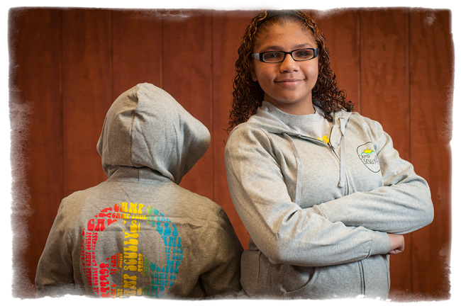 Camp's hooded sweatshirt has designs front and rear. It sells for $35