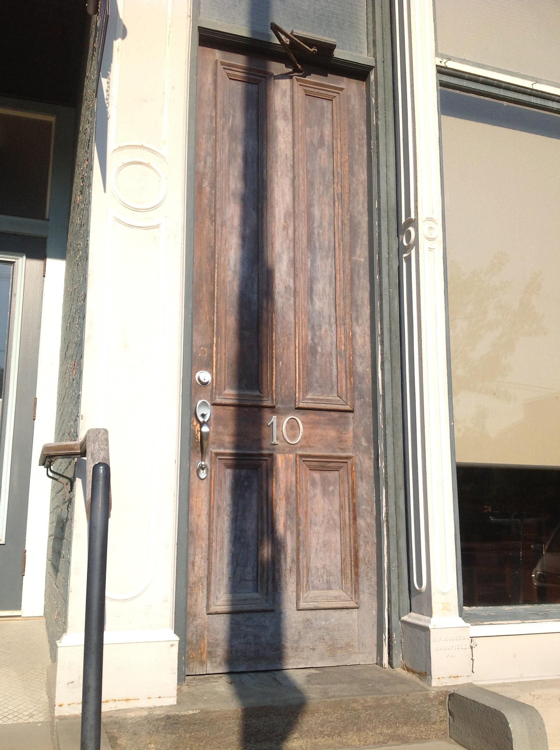 Go in this door.