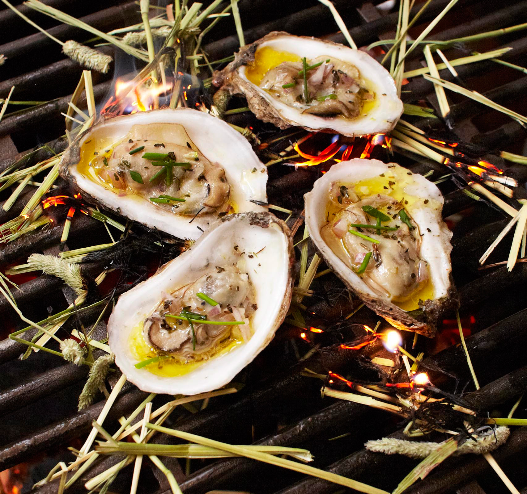 Grilled Hay Oysters