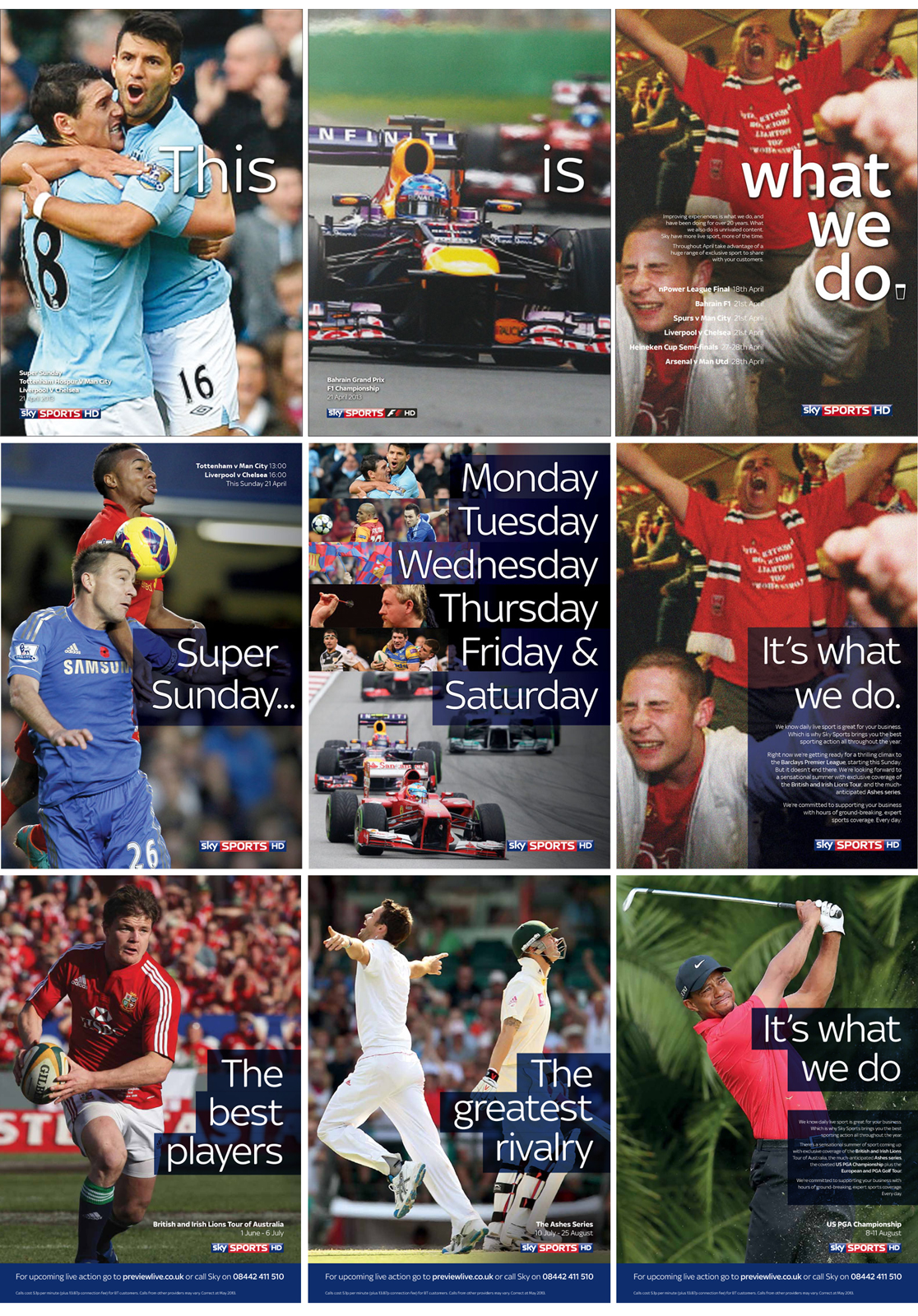 A selection of the page sequential press ads