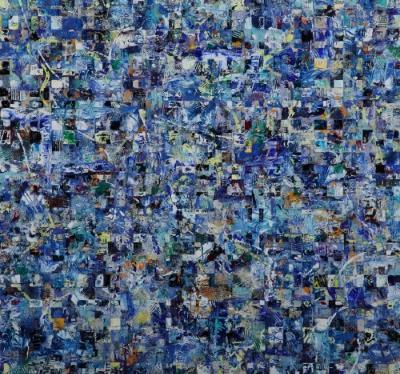 "Delphic Blues 2015 28"" X 30"" Acrylic on Panel"