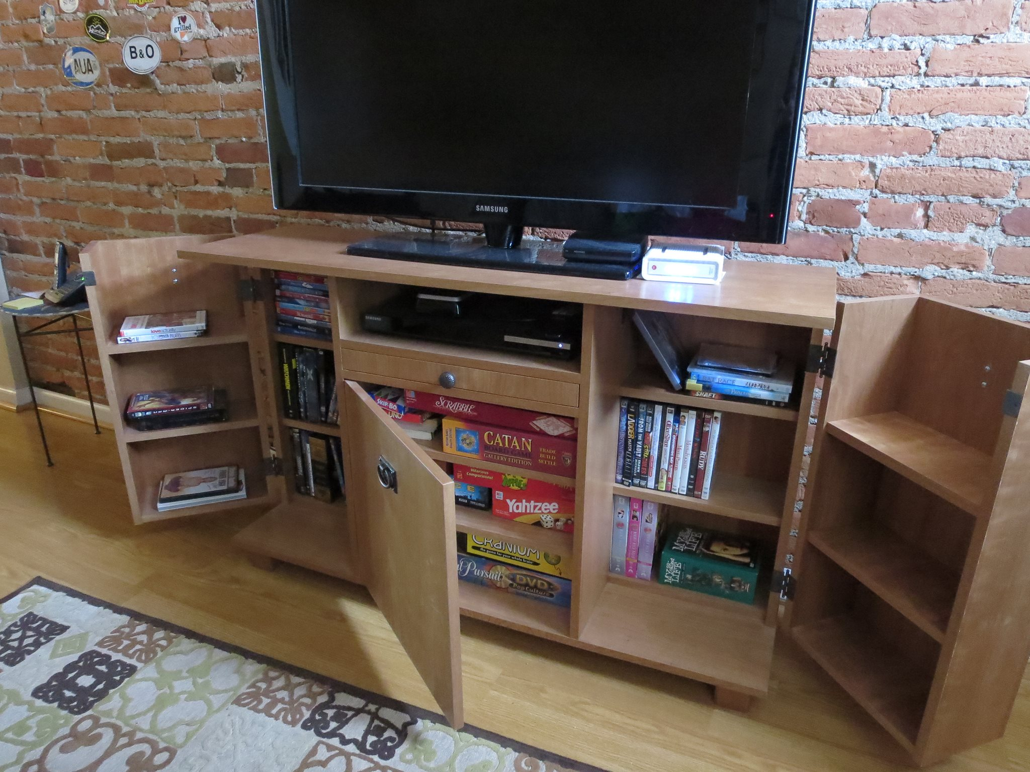 TV Stand With Hidden Storage - Opened
