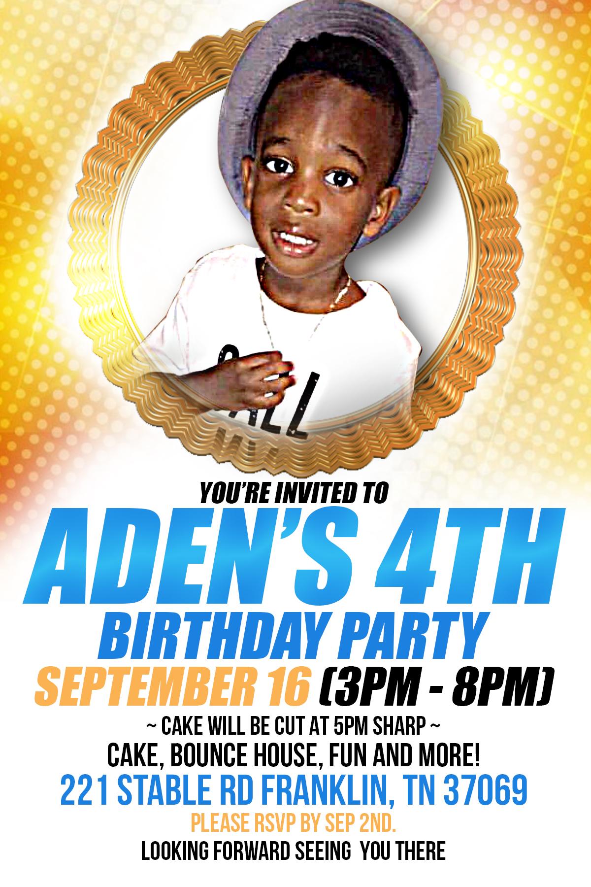 Copy of Aden's 4th Birthday Party flyer