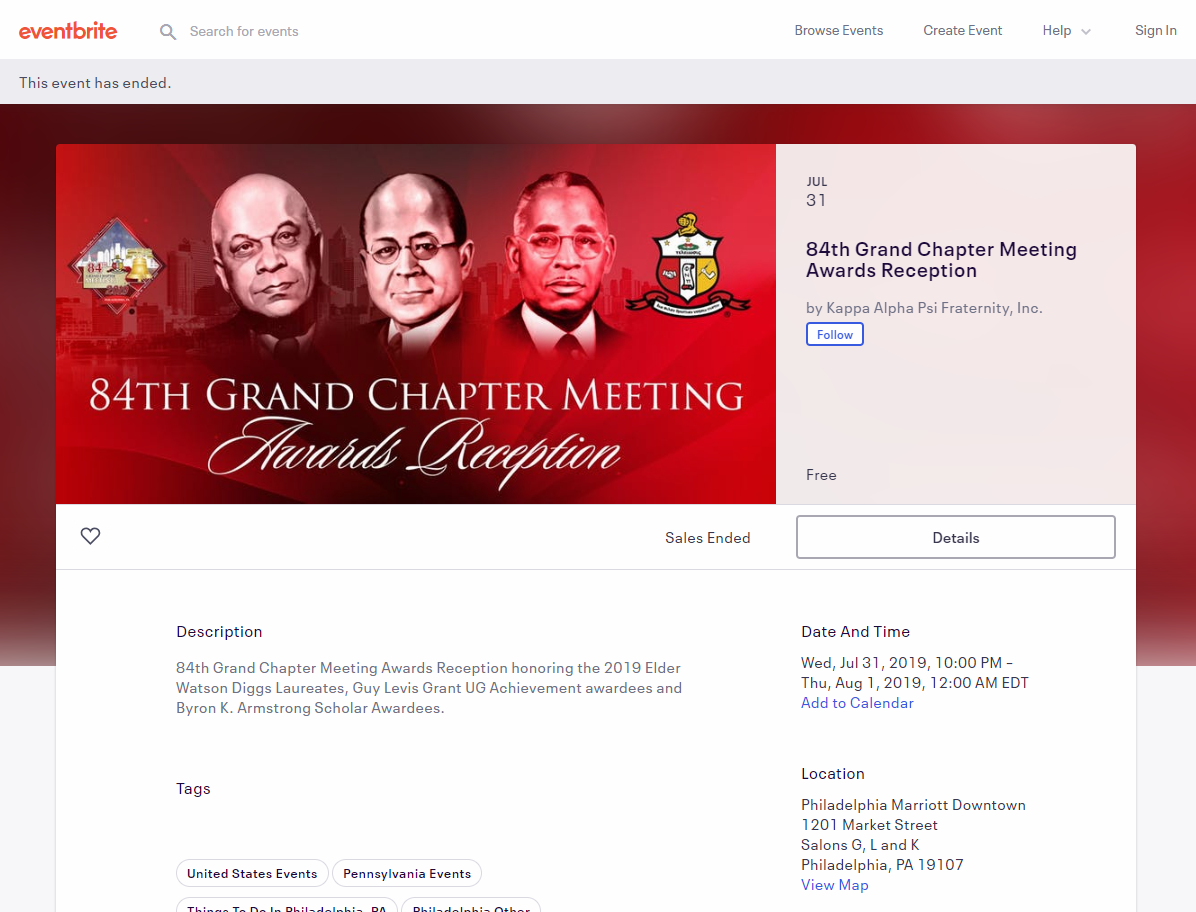 Eventbrite Page with banner.