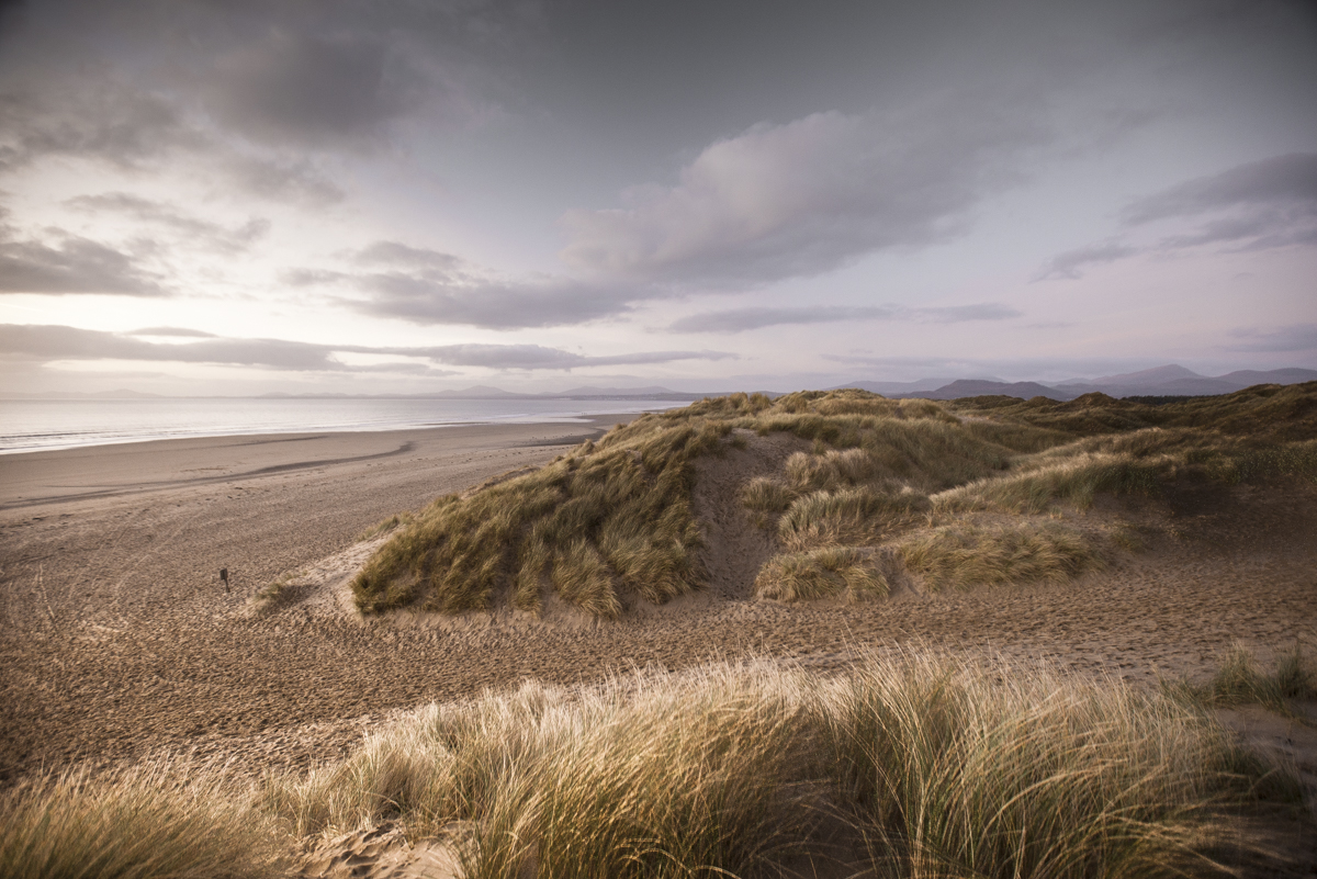 Duneland with a Snowdonia horizon in the background.