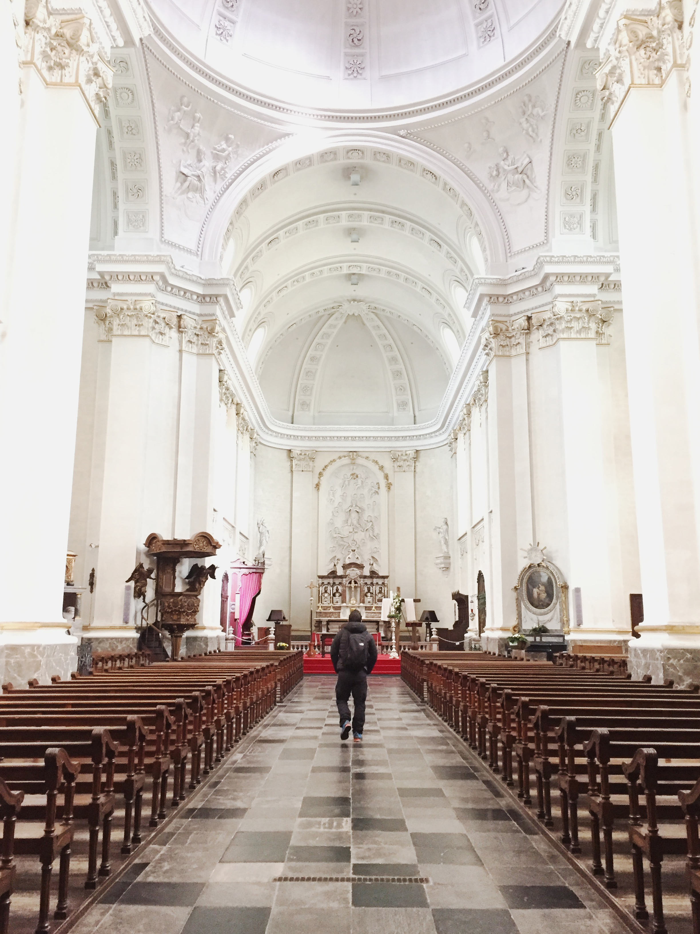 Inside the Malmedy cathedral. The high altar is made of marble and dates back to 1877.