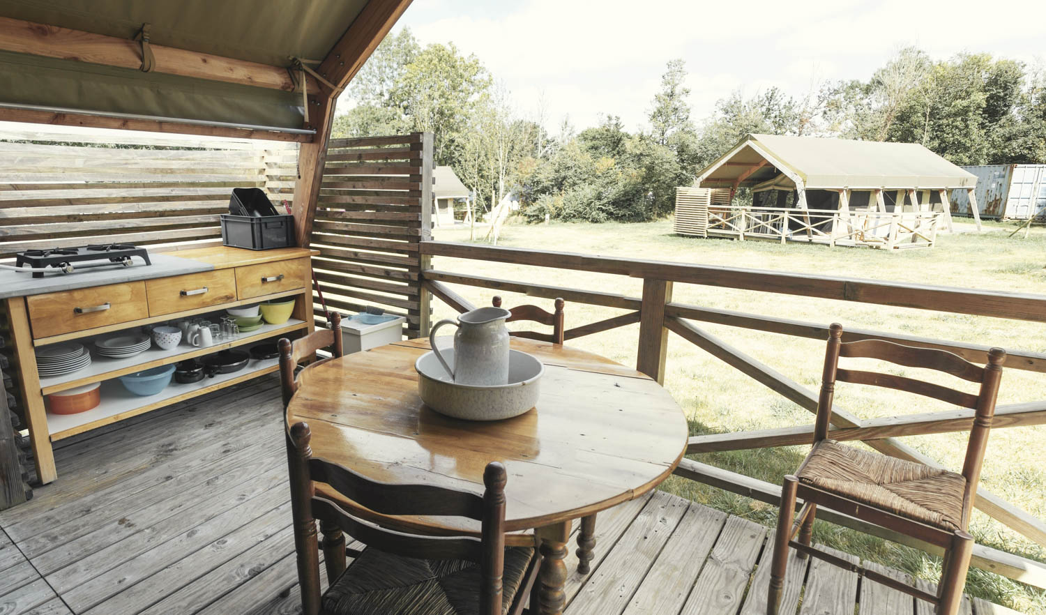 View from the Safari tent with has a nice intimacy and is equipped with all the necessary utensils and tableware.