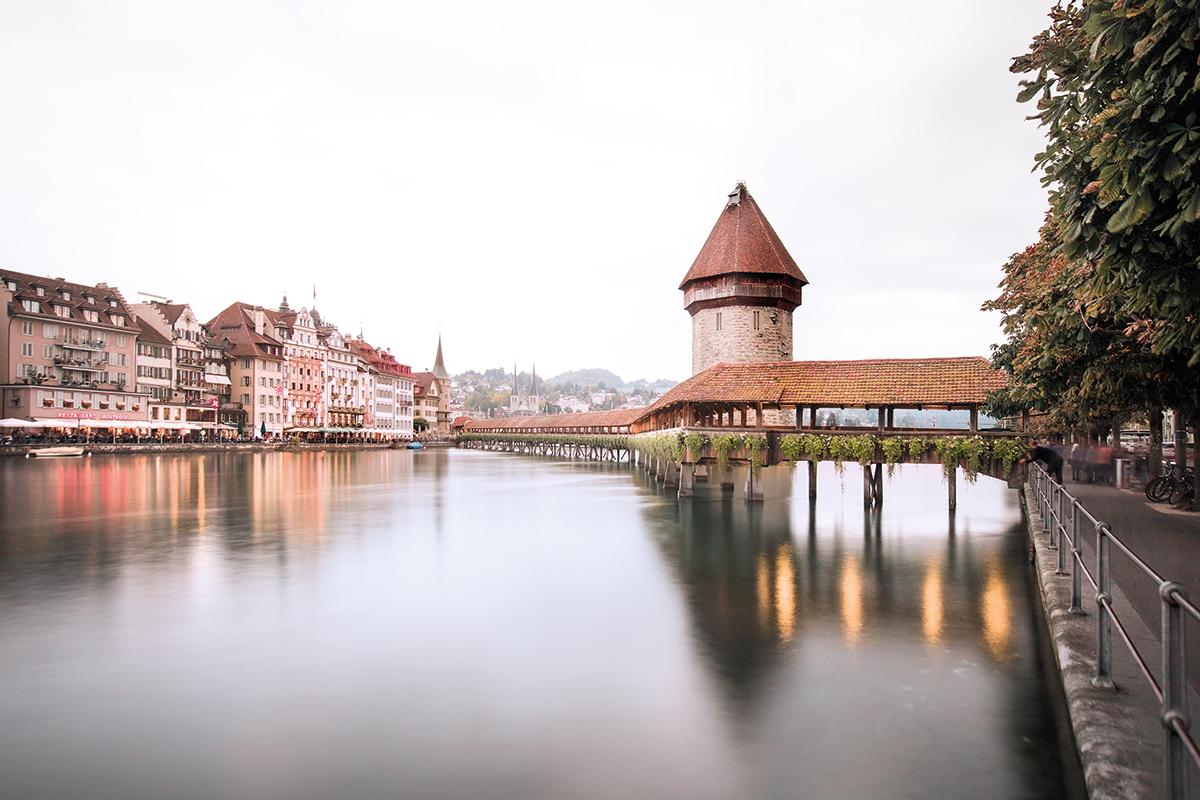 The famous and romantic Chapel Bridge of Lucerne.