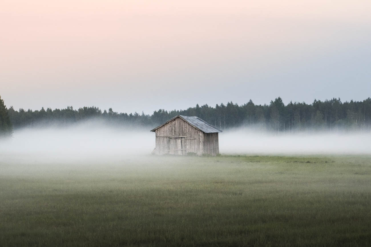 The evening mist begins to shroud one of the many traditional Swedish Barns, that are scattered all around.